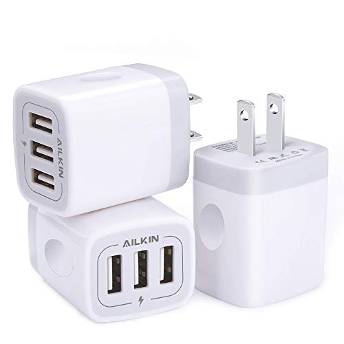 Wall Charger, USB Charger Adapter, Ailkin 3.1A/3Pack Muti Port Fast Charging Station Power Charge Base Block Plug Replacement for iPhone X/8/7 Plus, Samsung S9/S8/S7, Kindle Fire and More USB Plug