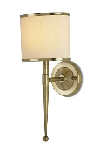 Currey and Company 5121 Primo - One Light Wall Sconce, Brass Finish with White with Brass Shade