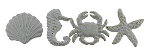 Door Knobs Cast (Coastal Sea Life 4 Piece Cast Iron Drawer Pull Set Cast Iron Drawer Pulls White)