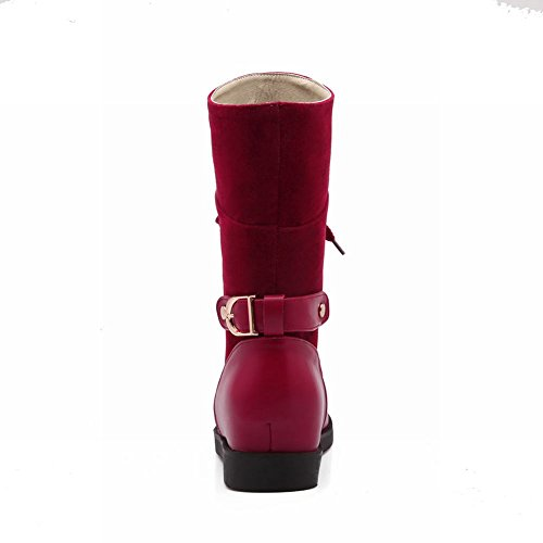 Latasa Womens Fashion Retro Lace-up Chunky Mid-heel Platform High-top Paddock Boots Rosso