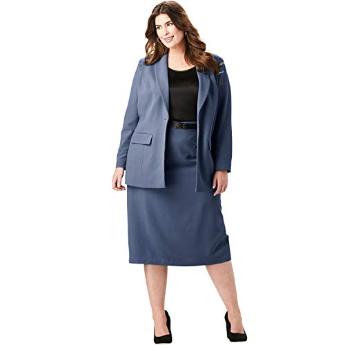 - Jessica London Women's Plus Size Single-Breasted Skirt Suit - Navy, 16