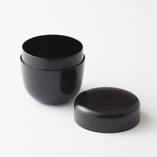 TOKYO MATCHA SELECTION - [Premium] Oshima: IKKAN - Matting Natsume - 2 Color - Tea Caddy Storage Canister - Japan Lacquareware from Ishikawa [Standard ship by Int'l e-packet: with Tracking & Insurance] (Black) by Tokyo Matcha Selection