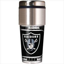 Oakland Raiders 16 oz Travel Tumbler with Metallic Wrap