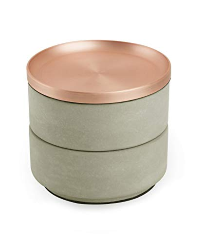 - Umbra Tesora Jewelry Box, Two-Tier Resin Storage Container with Removable Lid, Concrete/Copper
