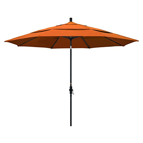 California Umbrella 11' Round Aluminum Market Umbrella, Crank Lift, Collar Tilt, Black Pole, Pacifica Tuscan