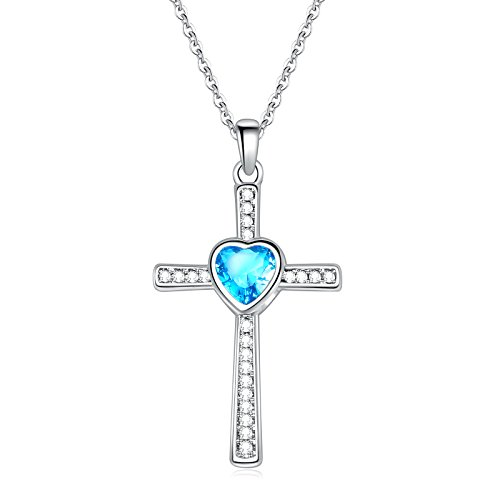 Sunflower Jewellery Birthstones Cross Necklace Heart Crystal Pendant Necklace For Women - Diamond Men Shaped Face