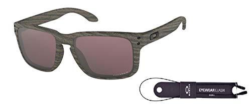 Oakley Holbrook OO9102 9102B7 57M Woodgrain/Prizm Daily Polarized Sunglasses For Men For Women+ BUNDLE with Oakley Accessory Leash ()
