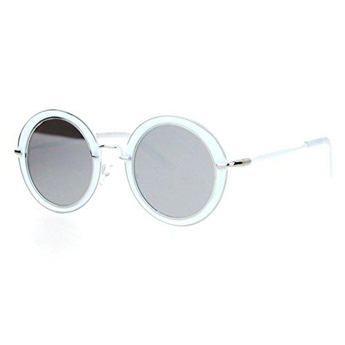 SA106 Retro Womens Vintage Style Unique Thick Metal Rim Sunglasses - Retro White Sunglasses Round