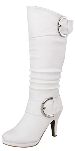 Cheap White Knee High Boots (Top Moda Womens Page-22 Knee High Round Toe Buckle Slouched Low Heel Boots, White, 7.5)