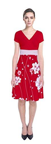 Cowcow Femmes Fleur De Cerisier De Style Japonais Manche Courte Robe Wrap Avant De Japonais Rouge