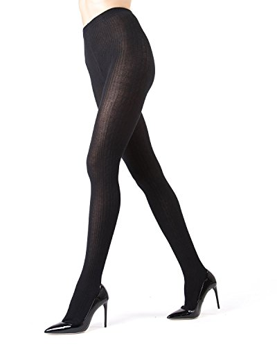 MeMoi Side Cable Winter Sweater Tights Large XL Black -