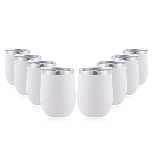 DOMICARE Insulated Wine Tumbler Glasses with Lid (8 Pack, White) - 12 OZ Stemless Double Wall Vacuum Traval Mug Cup - Keeping Cold & Hot for Wine, Coffee, Cocktails, Drinks ()