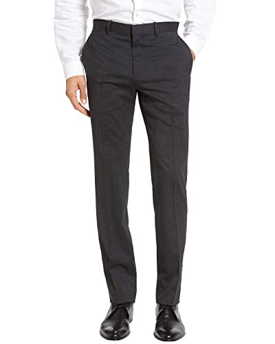 Theory Mens Marlo Flat Front Stripe Stretch Wool Pants 38 Grey Trousers