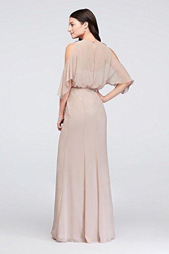 Style David's Chiffon F19712 Blouson Shoulder Marine Cold Bridesmaid Dress Bridal 6qwrI860