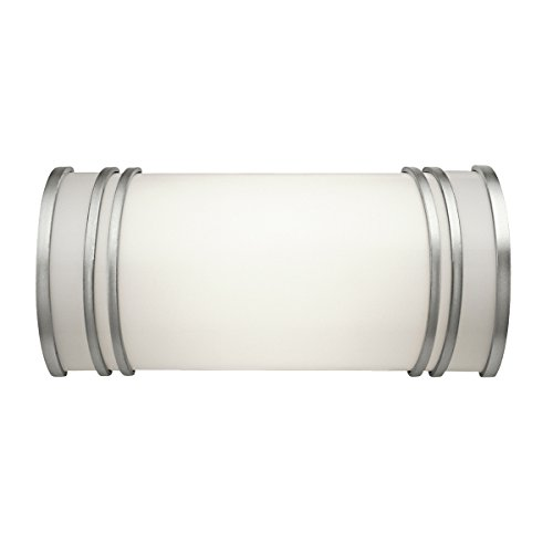 10328WH Linear 2LT 13IN CFL Vanity Fixture, Brushed Nickel Finish with White Acrylic Diffuser