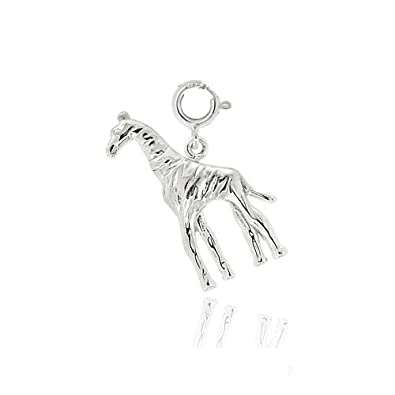 3D 925 Sterling Silver Charm - Giraffe With Gold Spots - Lobster Clasp Clip On - FREE UK POSTAGE oKBqpSn