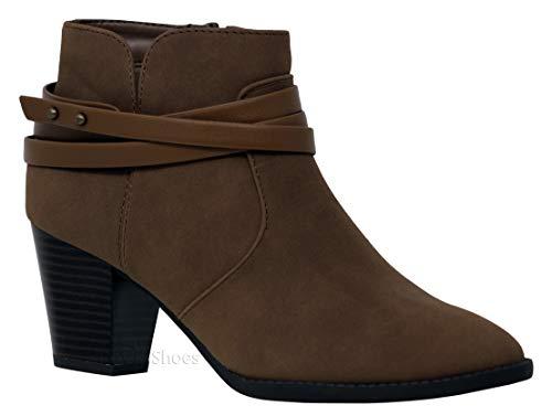 MVE Shoes Strappy Chunky Heel Booties - Side Zipper Women Comfort Shoes, DIAN Brown DISPU 10