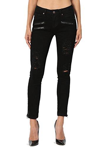 TheMogan Junior's Moto Distressed Ripped Zip Ankle Crop Skinny Jeans Black 5 (Pant Zip Crop)