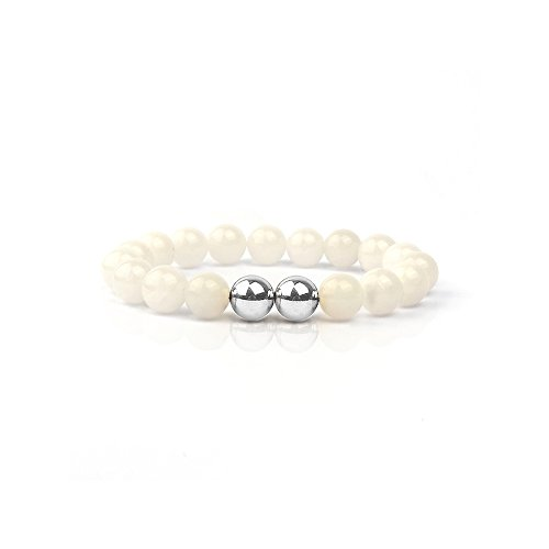 Shinus White Jade Semi-Precious Handmade Beads Stretch Healing Energy Bracelet for Women Men,19cm