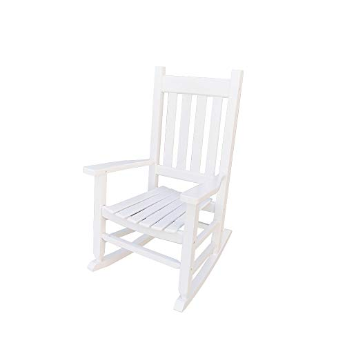B&Z KD-23W Child's Wooden Rocking Chair Porch Rocker – Indoor/Outdoor Ages 6-10 (White)