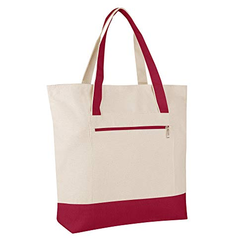 SET OF 4 - Heavy Canvas Large Size Fancy Zippered 12oz.Travel Tote Bags, Canvas Tote Bags by BagzDepot (Red) (Favor Spa Bag)