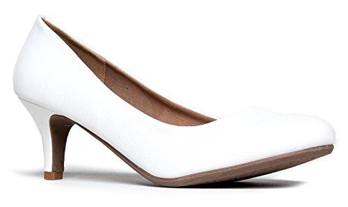 Round Toe Kitten Heel, White PU, 6 B(M) US