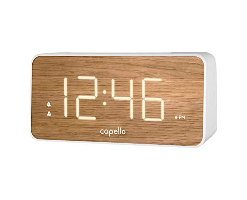 Capello Extra Large Display Digital Alarm Clock White/Pine - D Frame