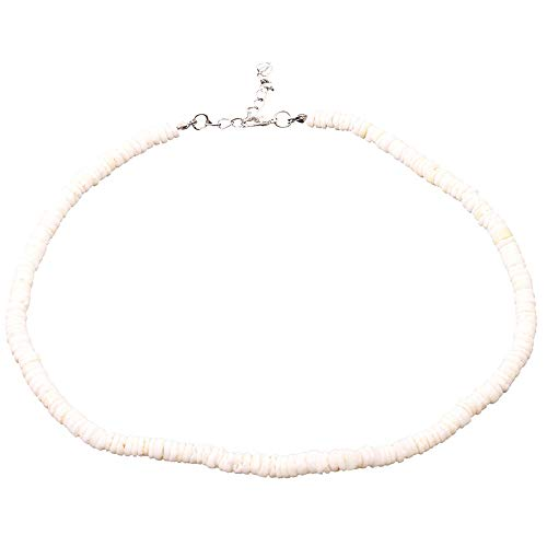 Ecurson Smooth Shells Necklace Coco Bead Surfer Necklace with White Puka Shell Bead Accents puka Shells Necklace Men Fashion Necklace Women Shells Pendant Braided Hemp Cord Choker Necklace