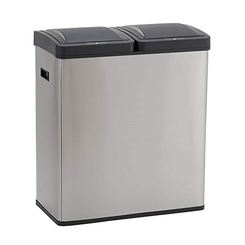 Design Trend Stainless Steel Dual Compartment Sensor Trash Can Recycler with Soft Close Lids | Two 30 Liter / 8 Gallon Bins, Silver