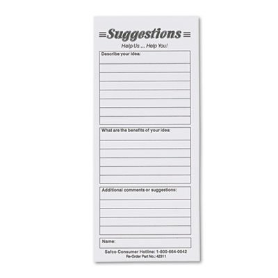 Suggestion Box Cards, 3-1/2 x 8, White, 25 Cards/Pack, Sold as 1 Package, 6PACK , Total 6 Package