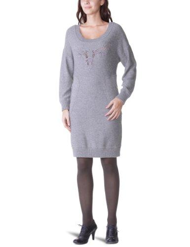 Derhy - Vestido con cuello redondo de manga larga para mujer Gris