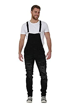 slim fit mens dungarees destroyed black denim bib overalls narrow leg zane 29w. Black Bedroom Furniture Sets. Home Design Ideas