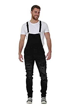 slim fit mens bib overalls destroyed black denim bib overalls narrow leg at amazon men s. Black Bedroom Furniture Sets. Home Design Ideas