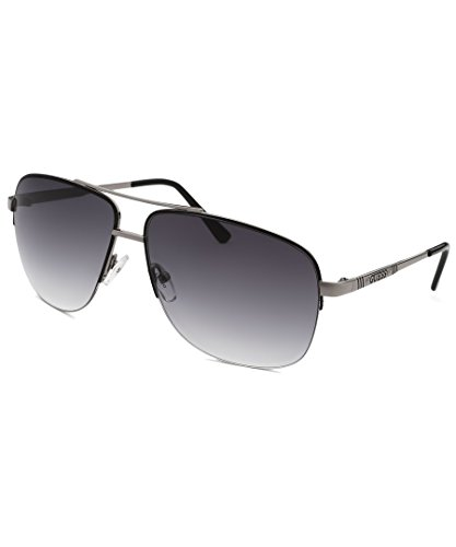 Guess Mens GU6745 Rectangular Half Rim Aviator Fashion Sunglasses, - Guess Aviator