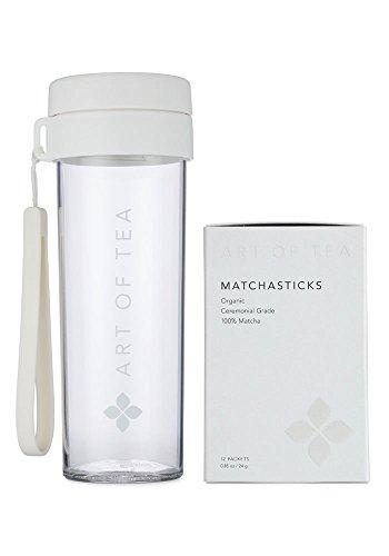 Art of Tea - Organic Ceremonial Grade Matcha Powder - Matchasticks - 12 single serve matcha packets and Matcha Shaker Bottle by Art of Tea