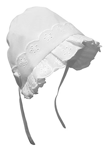 N'Ice Caps Baby Girls Closed Back Bonnet with Piping, (18 months), White