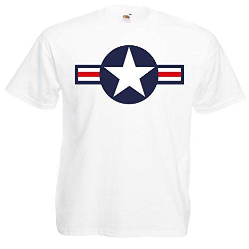 Hotrod Tshirt mit Oldschool Air Force Us Army Stern Tolles Geschenk für Jeep Fans Weiß