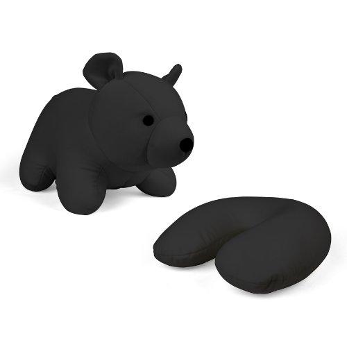 Bear Cuddle Pillow - Kikkerland Zip and Flip Bear Travel Pillow, Black