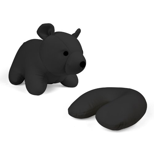 Kikkerland Zip and Flip Bear Travel Pillow, Black Animal Neck Pillow