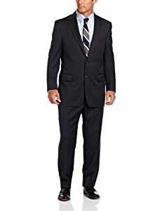 B00BPLY9VY Joseph Abboud Men's Pin Stripe Suit With Flat Front Pant, Navy, 46 Long