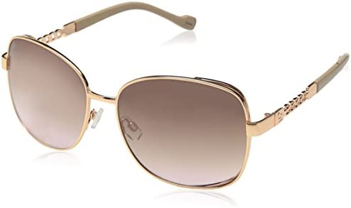 Jessica Simpson Women's J5512 Large Vented Square Metal Sunglasses with Chain Detailed Temple & 100% UV Protection, 60 mm