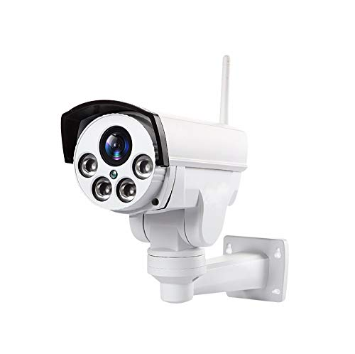 Outdoor PTZ 2.4G WiFi Security Camera Wireless Bullet Surveillance Camera HD 1080P Pan/Tilt 5X Optical Zoom 165ft Night Vision One-Way Audio IP66 Weatherproof Motion Detection & E-Mail (White)