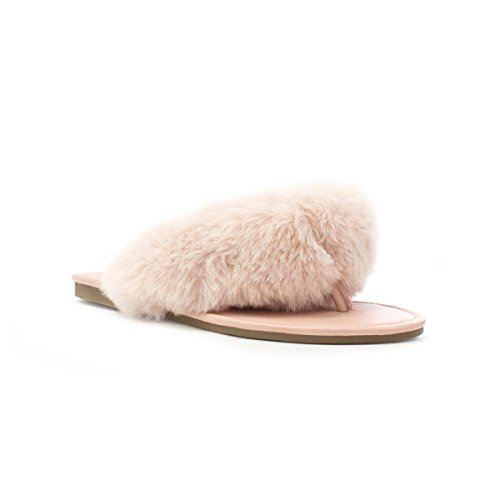 Truffle Womens Pink Faux Fur Flat Toe Post Sandal Pink MRyGaL70pH