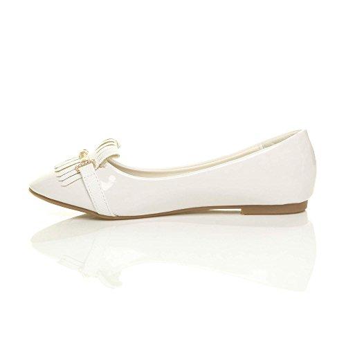 Ballerina Work Damen Ajvani Größe Fransen Schuhe Damen Dolly Quaste Weiß Flache Niedrige School Ferse Slipper 8ARAwq