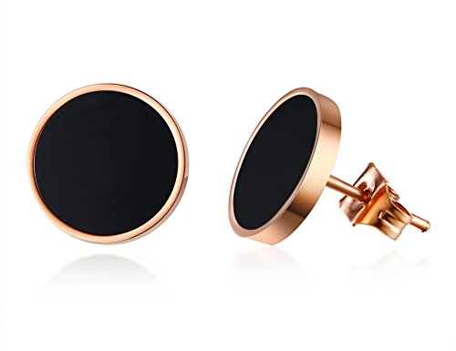 (PJ Stainless Steel Two-tone Black Rose Gold Asymmetrical Circle Disc Stud Earrings for Women Girls)