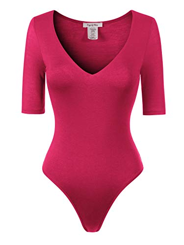 Design by Olivia Women's 3/4 Sleeve Bodycon Leotard Bodysuit Jumpsuits Fuchsia - Classic Pink Thong