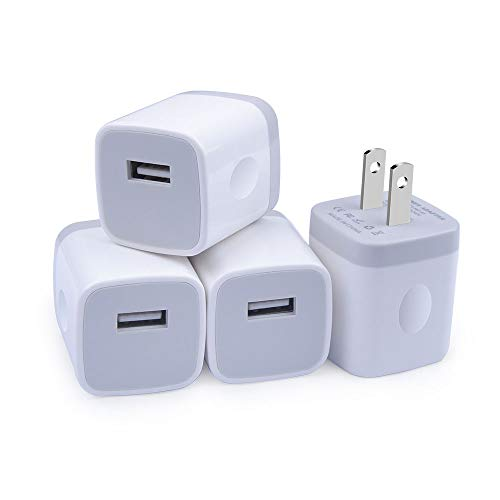 Charger Block, GiGreen 5V 1A USB Wall Adapter One Port Phone Charger 4PC USB Cube Charger Box Compatible Phone XS/X/8/7/6S, Samsung S10+/S9/S8/S7 Edge/A20/A70, LG G8 ThinQ/G7/G6, Pixel 3XL, Moto G6/Z2