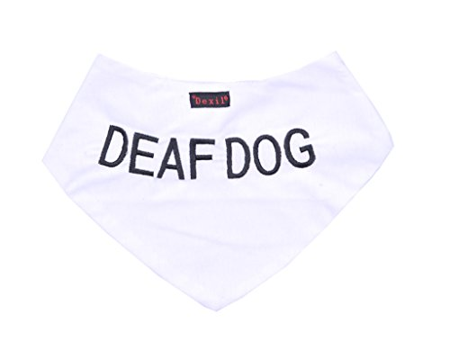 DEAF DOG White Dog Bandana quality personalised embroidered message neck scarf fashion accessory Prevents accidents by warning others of your dog in (Deaf Dog)