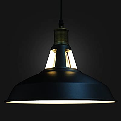 SIXDEFLY Lighting Industrial Barn Metal Retro Pendant Lights Fixture 1-Light,Black lamp shade,2 M line Adjustable Hanging Height,Ceiling Mounted,For Kitchen island Bar Counter Restaurant Pool Table