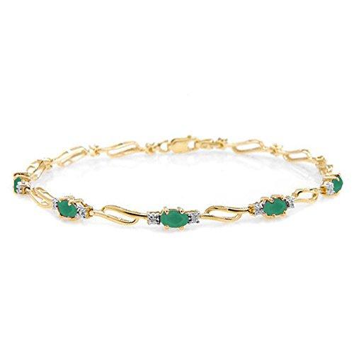 QP joailliers naturel & Diamant émeraude Bracelet en or 9carats, 3,50-Coupe ovale-5416y